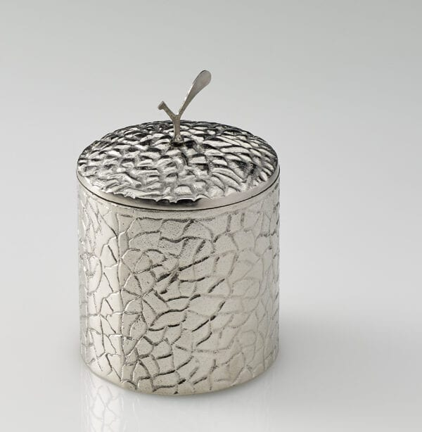 Spry Candles - Platinum Medium Candle Holder with Lid on